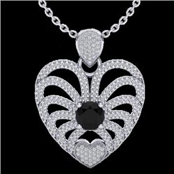 3.50 CTW Black & White Micro VS/SI Diamond Heart Necklace 14K White Gold - REF-173M6F - 20499