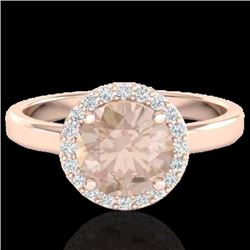 1.50 CTW Morganite & Halo VS/SI Diamond Micro Ring Solitaire 14K Rose Gold - REF-52N2A - 21633