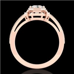 0.53 CTW VS/SI Diamond Solitaire Art Deco Ring 18K Rose Gold - REF-136N4A - 36870