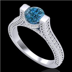 2 CTW Fancy Intense Blue Diamond Engagement Micro Pave Ring 18K White Gold - REF-200Y2X - 37621