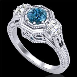 1.05 CTW Intense Blue Diamond Solitaire Art Deco 3 Stone Ring 18K White Gold - REF-161X8R - 37950