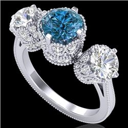 3.06 CTW Fancy Intense Blue Diamond Art Deco 3 Stone Ring 18K White Gold - REF-390R9K - 37390