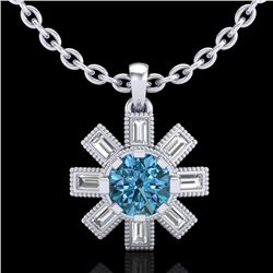 1.33 CTW Fancy Intense Blue Diamond Solitaire Art Deco Necklace 18K White Gold - REF-161X8R - 37873