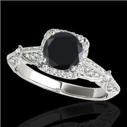1.36 CTW Certified VS Black Diamond Solitaire Halo Ring 10K White Gold - REF-68W9H - 33754
