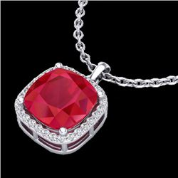 6 CTW Ruby & Micro Pave Halo VS/SI Diamond Necklace Solitaire 18K White Gold - REF-85F5N - 23084