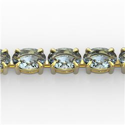 20 CTW Aquamarine Eternity Designer Inspired Tennis Bracelet 14K Yellow Gold - REF-178M2F - 23386