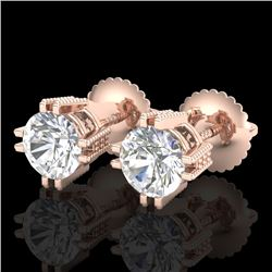 1.07 CTW VS/SI Diamond Solitaire Art Deco Stud Earrings 18K Rose Gold - REF-200N2A - 36912