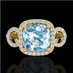 3.75 CTW Topaz & Micro VS/SI Diamond Certified Ring 18K Yellow Gold - REF-65X3R - 23014