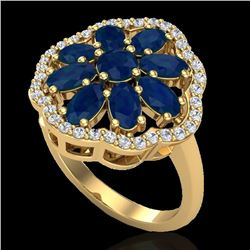 4 CTW Sapphire & VS/SI Diamond Cluster Designer Halo Ring 10K Yellow Gold - REF-60H9M - 20787