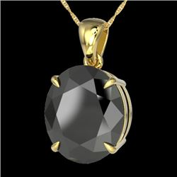 9 CTW Black VS/SI Diamond Certified Designer Solitaire Necklace 18K Yellow Gold - REF-200W5H - 21896