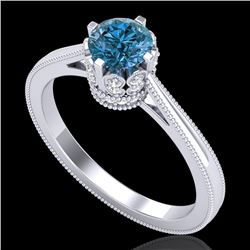 0.81 CTW Fancy Intense Blue Diamond Solitaire Art Deco Ring 18K White Gold - REF-103N6A - 37334