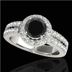 1.50 CTW Certified VS Black Diamond Solitaire Halo Ring 10K White Gold - REF-86N7A - 33992