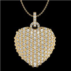 3 CTW Micro Pave VS/SI Diamond Certified Designer Heart Necklace 18K Yellow Gold - REF-200N2A - 2046