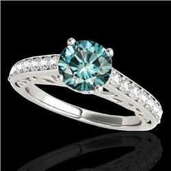 1.40 CTW SI Certified Fancy Blue Diamond Solitaire Ring 10K White Gold - REF-161X8R - 35019