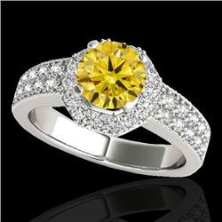 1.40 CTW Certified SI/I Fancy Intense Yellow Diamond Solitaire Halo Ring 10K White Gold - REF-172A5V