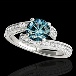 1.75 CTW SI Certified Fancy Blue Diamond Bypass Solitaire Ring 10K White Gold - REF-180K2W - 35131