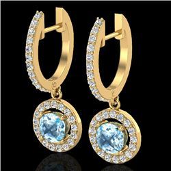 1.75 CTW Sky Topaz & Micro Pave Halo VS/SI Diamond Earrings 18K Yellow Gold - REF-82X7R - 23261