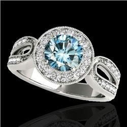 1.40 CTW SI Certified Fancy Blue Diamond Solitaire Halo Ring 10K White Gold - REF-174W2H - 34563