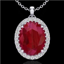 2.75 CTW Ruby & Micro VS/SI Diamond Certified Halo Necklace 18K White Gold - REF-60V2Y - 20596