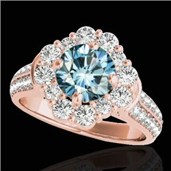 2.81 CTW SI Certified Fancy Blue Diamond Solitaire Halo Ring 10K Rose Gold - REF-309Y3X - 33964