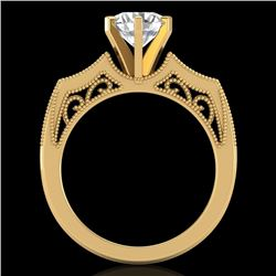 1.51 CTW VS/SI Diamond Solitaire Art Deco Ring 18K Yellow Gold - REF-442A5V - 37078
