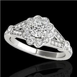 1.65 CTW H-SI/I Certified Diamond Solitaire Halo Ring 10K White Gold - REF-180W2H - 34034