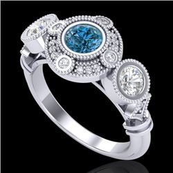 1.51 CTW Intense Blue Diamond Solitaire Art Deco 3 Stone Ring 18K White Gold - REF-218V2Y - 37712