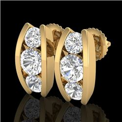 2.18 CTW VS/SI Diamond Solitaire Art Deco Stud Earrings 18K Yellow Gold - REF-300M2F - 37012