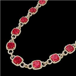 56 CTW Ruby & Micro VS/SI Diamond Certified Eternity Necklace 14K Yellow Gold - REF-1003F6N - 23049
