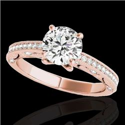 1.25 CTW H-SI/I Certified Diamond Solitaire Antique Ring 10K Rose Gold - REF-158N2A - 34739