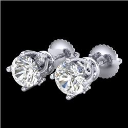 1.26 CTW VS/SI Diamond Solitaire Art Deco Stud Earrings 18K White Gold - REF-209N3A - 37019