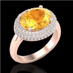 4 CTW Citrine & Micro Pave VS/SI Diamond Certified Ring 14K Rose Gold - REF-89W8H - 20910