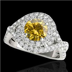 2 CTW Certified SI/I Fancy Intense Yellow Diamond Solitaire Halo Ring 10K White Gold - REF-236H4M -