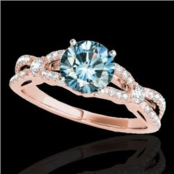 1.35 CTW SI Certified Fancy Blue Diamond Solitaire Ring 10K Rose Gold - REF-167V3Y - 35229