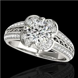 2.05 CTW H-SI/I Certified Diamond Solitaire Halo Ring 10K White Gold - REF-371F3N - 34265