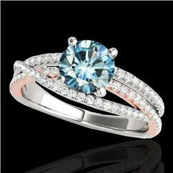 1.65 CTW SI Certified Blue Diamond Solitaire Ring 10K White & Rose Gold - REF-222W7H - 35549