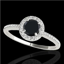 1.20 CTW Certified VS Black Diamond Solitaire Halo Ring 10K White Gold - REF-48M9F - 33502