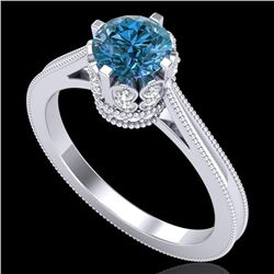 1.14 CTW Fancy Intense Blue Diamond Solitaire Art Deco Ring 18K White Gold - REF-136M4F - 37341