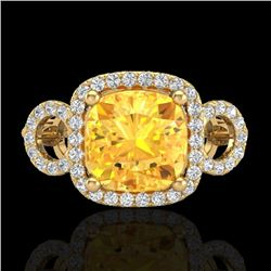 3.75 CTW Citrine & Micro VS/SI Diamond Certified Ring 18K Yellow Gold - REF-65A3V - 23000