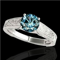 1 CTW SI Certified Fancy Blue Diamond Solitaire Ring 10K White Gold - REF-152Y7X - 35187