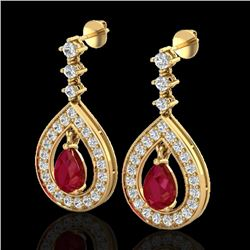 2.25 CTW Ruby & Micro Pave VS/SI Diamond Earrings Designer 14K Yellow Gold - REF-105Y5X - 23154