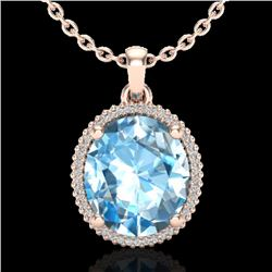 12 CTW Sky Blue Topaz & Micro VS/SI Diamond Halo Necklace 14K Rose Gold - REF-65V3Y - 20603