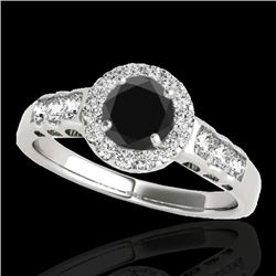 1.55 CTW Certified VS Black Diamond Solitaire Halo Ring 10K White Gold - REF-74M5F - 34363