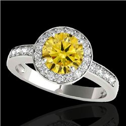 1.40 CTW Certified SI/I Fancy Intense Yellow Diamond Solitaire Halo Ring 10K White Gold - REF-180F2N
