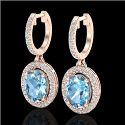 4.25 CTW Sky Blue Topaz & Micro VS/SI Diamond Earrings Halo 14K Rose Gold - REF-84H2M - 20314