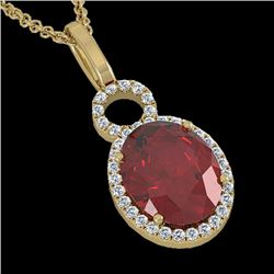 4 CTW Garnet & Micro Pave Solitaire Halo VS/SI Diamond Necklace 14K Yellow Gold - REF-45R3K - 22763