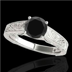 1.50 CTW Certified VS Black Diamond Solitaire Antique Ring 10K White Gold - REF-54H9M - 35194