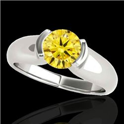 1 CTW Certified SI/I Fancy Intense Yellow Diamond Solitaire Ring 10K White Gold - REF-207X3R - 35180
