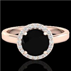 2 CTW Halo VS/SI Diamond Certified Micro Pave Ring Solitaire 14K Rose Gold - REF-70F4N - 21619