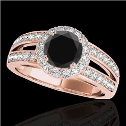 1.60 CTW Certified VS Black Diamond Solitaire Halo Ring 10K Rose Gold - REF-85Y5X - 34251